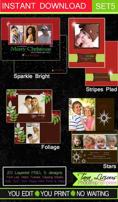 Photoshop Holiday Christmas Fully layered Templates Set 4 includes 16 Beautiful PSD files, fully layered. 4 Holiday Files are in this