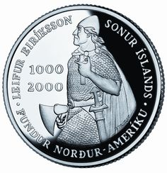 2000 Leif Ericson 1,000 Krónur coin minted for Iceland by the U.S. Mint