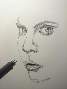 Cara Delavigne portrait with fineliner