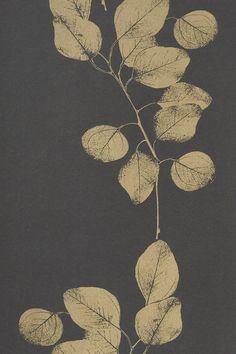 Image of Wallpaper - Leaf Metallic - Black/Gold