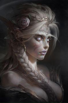 """Dans mon histoire, le don de l'obscurité et de la lumière est attribué aux elfes. Ceux-ci ont aussi des sens très développés (vue, ouïe, touché, odorat et goût) et une affinité avec les animaux sacrés et les animaux qui vivent la nuit. Le peuple des elfes est le seul à pouvoir posséder un """"Amia"""". Les Amias sont des sortes de familier avec lesquels ils se lient jusqu'à leur mort."""