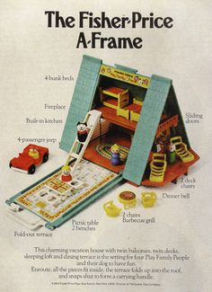 Fisher Price A-Frame. I didn't have this one and I don't remember ever seeing it. It's hard to believe there was one of the Fisher Price toys that I didn't Fisher Price Toys, Vintage Fisher Price, Look Vintage, Vintage Ads, Vintage Stuff, Vintage Dolls, Vintage Advertisements, Childhood Toys, Childhood Memories