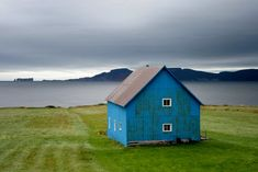 blue house on green grass. Beautiful World, Beautiful Places, Old Barns, Nova Scotia, Little Houses, Tiny Houses, Architecture, House Styles, Photos