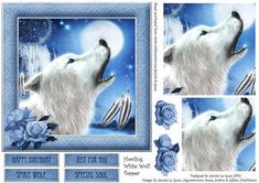 A beautiful white wolf howls at the moon on this native American inspired tipper. Featuring simple pyramage with feint guidelines on the topper for easy placement, decoupage layers and a variety of sentiment panels to choose from.