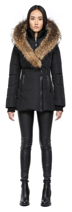 Mackage - ADALI-F4 BLACK FITTED WINTER DOWN COAT WITH FUR HOOD FOR WOMEN