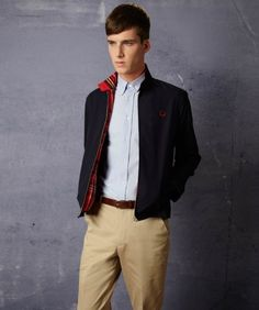The Harrington jacket is a classic and dates back to the mod era. Wear it with a light-mid denim for a timeless look. Chinos are a good shout to to keep in with today's style.
