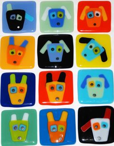fused glass images | ... Fused Glass Art with Personality: Dog Face Coasters and Tiles in Fused