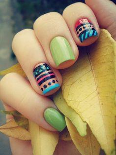 Tribal nails. Nail art. Nail design. Polish