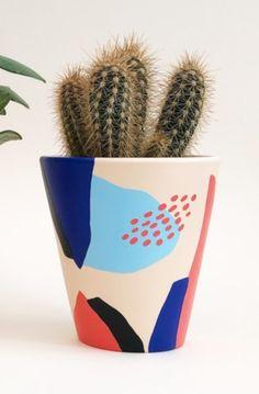 Medium Painted Pot - Ceramics, Decoration, Homewares, Patterns & Shape, Shop By Theme - The Red Door Gallery Painted Plant Pots, Painted Flower Pots, Plant Decor, House Plants Decor, Diy Wooden Planters, Painted Tin Cans, Diy Painting, Ceramic Painting, Decorated Flower Pots