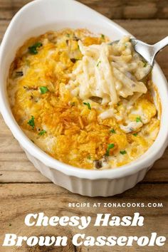 This easy Cheesy Hashbrown Casserole has thawed hash brown potatoes combined with tender crisp onions, butter, cream of mushroom soup, sour cream, and shredded sharp cheddar cheese all topped with buttery crunchy potato chips or French's Fried Onions. This Cheesy Hash Brown Potatoes Casserole is downsized to feed just 2 – 4 people, ready in just 30 minutes for a quick and easy dinner or lunch side dish, or even breakfast. Cheese Hashbrown Potatoes, Cheesy Potatoes With Hashbrowns, Hashbrown Breakfast Casserole, Potatoe Casserole Recipes, Hash Brown Casserole, Potato Recipes, Shredded Potato Casserole, Side Dishes Easy, Side Dish Recipes