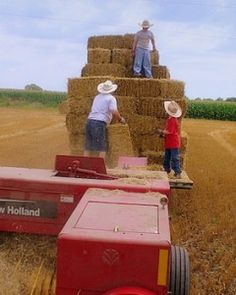Bucking two-string bales of straw right out of the baler (these youngsters look like they need some help)