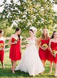 bridesmaid, rustic, barnyard, Bridesmaids, Summer, elegant, color, dress, dresses, red, white