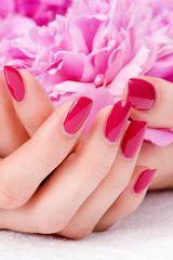 Pink nail at the dressing service
