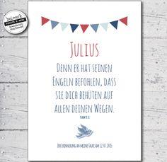 """Taufspruch+-+Segenswunsch+""""JULIUS""""+von+bei.werk+★+prints+&+more+auf+DaWanda.com"""
