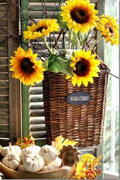 Highlights from Fall Front Porch/Wreath Party! Happy Flowers, Beautiful Flowers, Sunflowers And Daisies, Fall Vignettes, Sunflower Garden, Flower Basket, Mellow Yellow, Fall Halloween, Floral Arrangements