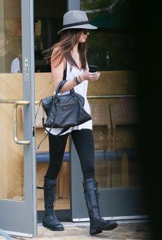 Kendall Jenner wearing Balenciaga City Bag, Ann Demeulemeester Lace-Up Knee Boots, Hermes Rivale leather bracelet, Rag & Bone Floppy Brim Fe...