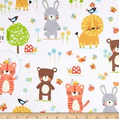 Michael Miller Nature Babies Flannel Nature Babies White from…