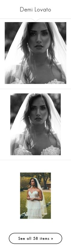 """""""Demi Lovato"""" by argboo on Polyvore featuring dresses, wedding dresses, text, words, inspiration, phrase, quotes, backgrounds, saying and accessories"""