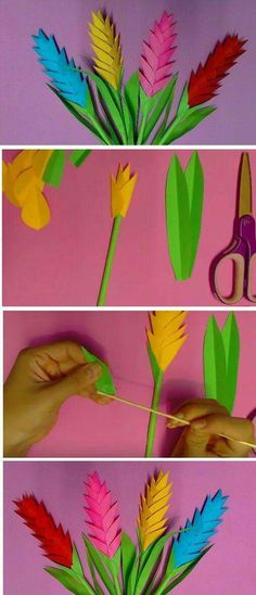 DIY Heliconia Flower with Color Paper – Neesly Origami Paper, Diy Paper, Paper Art, Paper Crafts, Flower Crafts, Diy Flowers, Paper Flowers, Flower Diy, Fabric Flowers