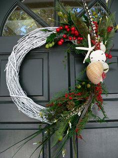 Beach Beachy Christmas Wreath with Shells by BeachyWreaths on Etsy