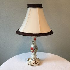 Lamp with coordinating lampshade coffee theme decoupaged cream brown trim on shade by HolyChicBoutiqueCo on Etsy