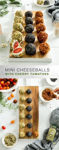 Heirloom cherry tomatoes of varying colors are enveloped in a seasoned blend of cream cheese and goat cheese in this mini cheeseballs recipe. Finish them with a seed walnut and herb or pecan and chili pepper topping or make some with each! Fingerfood Recipes, Appetizer Recipes, Vegan Appetizers, Recipes Dinner, Mini Cheeseballs, Cherry Tomato Recipes, Simply Organic, Cheese Ball Recipes, Appetizers For Party