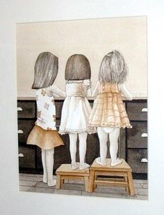 Items similar to Wash Up - archival watercolor print by Tracy Lizotte on Etsy Three Daughters, Three Sisters, Little Sisters, Love My Sister, To My Daughter, Illustrations, Illustration Art, Creation Photo, Sisters Forever