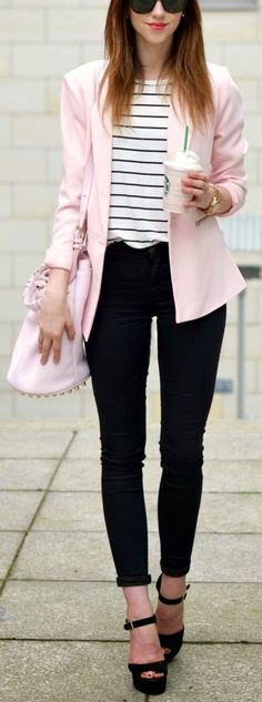 Women's fashion | Striped shirt, pastel pink blazer, skinnies and heels