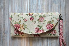 Cottage Chic Wallet for Women - Rustic Chic Ladies Large Wallet - Women's Organizer Wristlet Wallet by theWatermelonDesign on Etsy