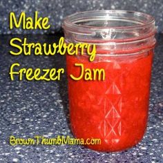 It's easy to make jam with fresh strawberries! Freezer jam doesn't have to be cooked and canned, so it's easier to do with a little one around.