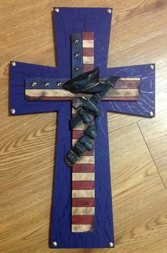 Police Themed Cross by TheCrossedCupcake on Etsy, $40.00