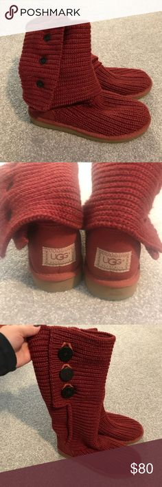 Ugh Knitted boots Worn twice, UGG knitted boots in perfect condition. These are a pretty light red classic cardy knitted style. UGG Shoes Winter & Rain Boots