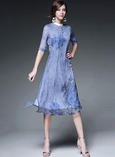 Silk Floral Half Sleeve Knee-Length Vintage Dresses