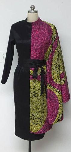 Collection AYALUX. Robe ajustée asymétrique contraste Noir