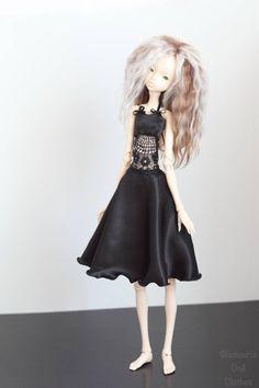Black satin dress for bjd doll chateau kid k-7/k-11 body by GlamouriaDollClothes on Etsy https://www.etsy.com/listing/592145387/black-satin-dress-for-bjd-doll-chateau