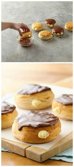 Easy vanilla pudding mix is the filling in these Canolli Doughnuts made with Grands! Biscuits.