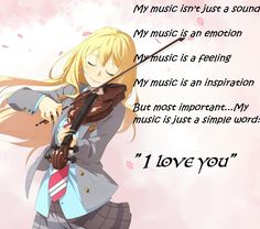 """Just a simple WORD:""""I LOVE YOU"""" Kaori Your Lie In April"""