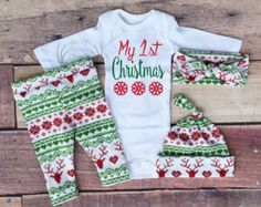 Baby Girl Christmas Outfit,My 1st Christmas, My First, Girl Coming home outfit,Girls Christmas,Red and Green,Red Deer,Leggings,Hat,Headband