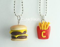 Best Friends Necklaces - Double Cheese Burger and Cute Fries - Necklaces with Cute, Jewelry, Love it! Bff Necklaces, Best Friend Necklaces, Best Friend Jewelry, Cute Necklace, Birthday Gifts For Best Friend, Best Friend Gifts, Best Friends, Polymer Clay Charms, Polymer Clay Jewelry