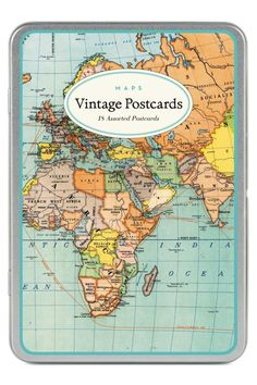 This beautiful set of vintage postcards features 18 assorted postcards with images of old maps, all in a wonderful reusable tin box. Made by Cavallini and Co., these are printed on high quality classic cream paper stock. These postcards are truly a joy for sender and receiver alike.   Vintage Maps Postcards by Cavallini & Co. Home & Gifts - Gifts For... Boulder, Colorado