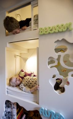 Kids room - Danish hideout - Designed by Kalle Thesbjerg, from Denmark Mini Loft, Cool Bunk Beds, Kid Beds, Baby Beds, Baby Decor, Kids Decor, Built In Bunks, Kids Bedroom, Kids Rooms