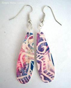 SimplyReneeLouise-Colorful patterned long dangle earrings, made from polymer clay-$11