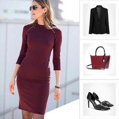 Commencez le mois de septembre avec style ! Une robe longue et cintrée avec un blazer noir et une paire de talons noir en cuir ! #septembre #look #fashion