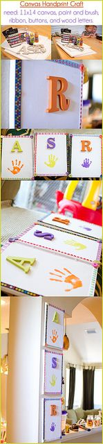 handprint, paint, canvas craft :) super easy keep sake! Found our summer project! Crafts For Boys, Craft Activities For Kids, Crafts To Do, Projects For Kids, Art For Kids, Arts And Crafts, Craft Ideas, Kids Fun, Art Projects