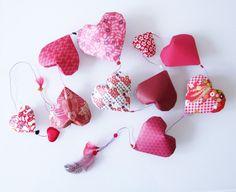 Vertical Garland Valentine: 10 volume red origami by MeAndPaper