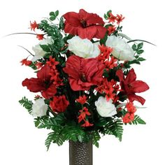 Red & White Amaryllis with Stay-In-The-Vase ® Design Cemetery Flowers (LG1266) - Listing price: $39.99 Now: $36.99
