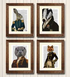 Military Collection Set four Dictionary Prints Fox Hare Badger Otter Art Print
