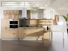 Kitchen , Awesome Contemporary Kitchen Design Ideas 2016 : Wooden Light Brown Kitchen Idea With Unique And Awesome Design