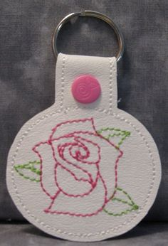 Pink Rose on White Vinyl and Pink Snap Tab Key Fob by ghostwalk on Etsy