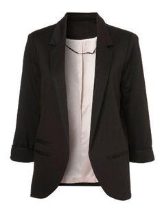 Black Boyfriend Ponte Rolled Sleeves Blazer